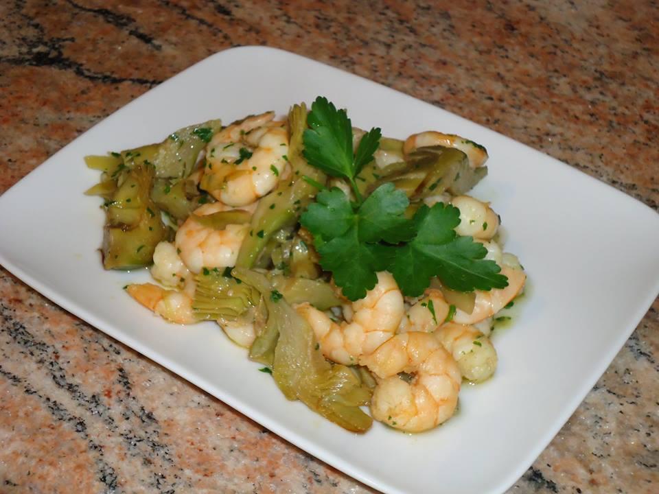 Clelia in Cucina : Antipasto caldo di gamberi e carciofi.
